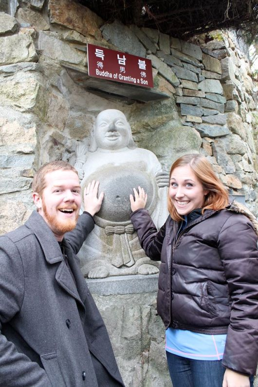 Grown-up Jonathan and Lily (well, sort-of). And don't be confused by this picture. Buddha has not granted us a son.