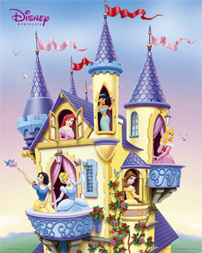 All of the princesses together in the castle! I bet they have a book club!