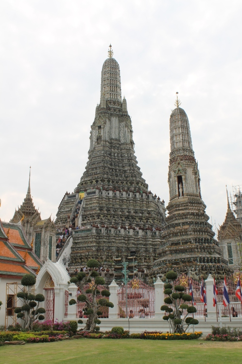 Wat Arun, an incredibly old temple with a terrifyingly steep staircase.