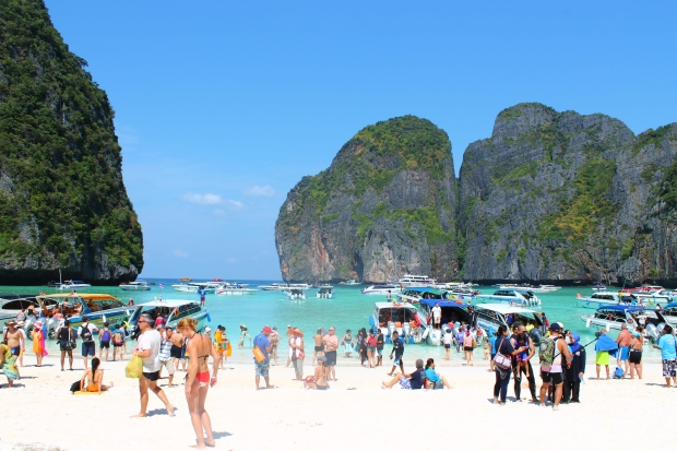 Maya Beach, only accessible by boat and most famous for being where the movie The Beach was shot (although that's not a particularly good or well-known movie). As you can see, it was VERY crowded, but still stunning. This photo is a raw image - no editing at all - that's how vivid the colors are by themselves.