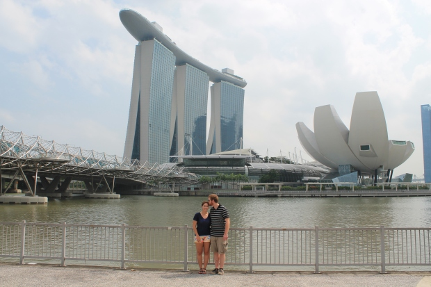 The Marina Bay Sands is the three towers with the cruise ship on top of it. Also pictured are the bridge designed to look like a double helix and a museum that looks sort of like an orange with half the peel off (to me)