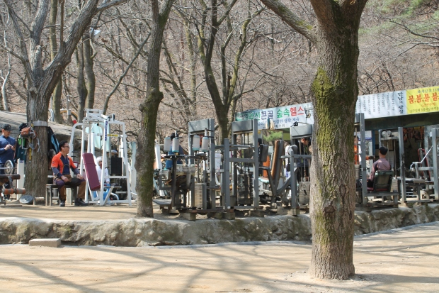 Koreans are also super into stopping to work out at these random outdoor gyms that are in public places everywhere you look. Check out their hiking attire.