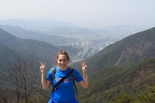 Me, striking a traditional Korean pose. (That's not sarcastic. This is the standard pose for pictures in Korea.)